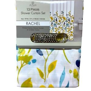 Fabric Shower Curtain with 12 Roller Hooks NWT